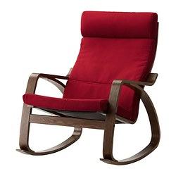 POÄNG rocking-chair, Dansbo medium red, brown Width: 68 cm Depth: 94 cm Height: 95 cm
