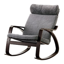 POÄNG rocking-chair, Lockarp grey, black-brown Width: 68 cm Depth: 94 cm Height: 95 cm