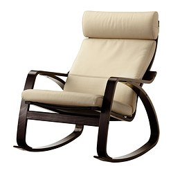 POÄNG rocking-chair, Robust eggshell, black-brown Width: 68 cm Depth: 94 cm Height: 95 cm