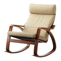 POÄNG rocking chair, medium brown, Glose Robust off-white