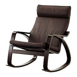 POÄNG rocking-chair, Robust dark brown, black-brown Width: 68 cm Depth: 94 cm Height: 95 cm