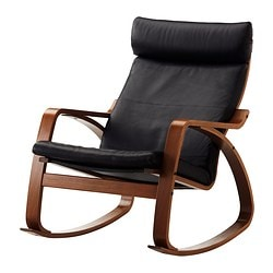 POÄNG rocking chair, medium brown, Glose Robust black