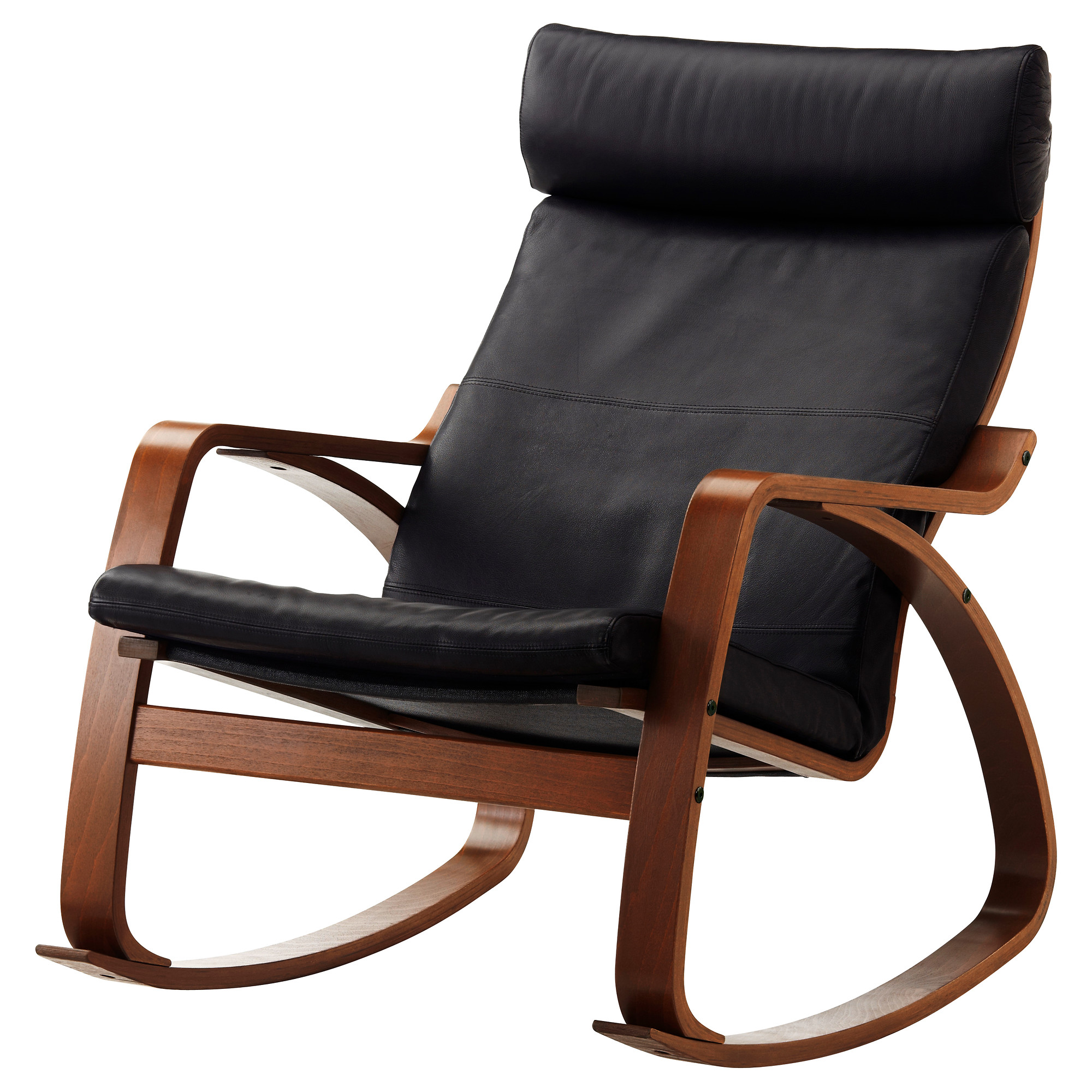 Poang chair living room - Po Ng Rocking Chair Medium Brown Glose Robust Black Width 26 3 4