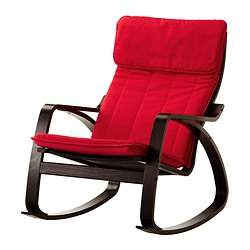 POÄNG rocking-chair, Alme medium red, black-brown Width: 68 cm Depth: 94 cm Height: 95 cm