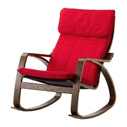 POÄNG rocking-chair, Alme medium red, brown Width: 68 cm Depth: 94 cm Height: 95 cm