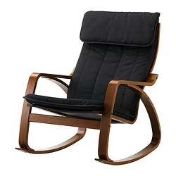 POÄNG rocking chair, medium brown, Ransta black