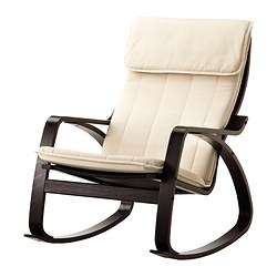 POÄNG rocking-chair, Alme natural, black-brown Width: 68 cm Depth: 94 cm Height: 95 cm