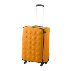 "UPPTÄCKA suitcase on wheels, collapsible, yellow-orange Width: 16 ¼ "" Depth: 11 3/4 "" Height: 23 ½ "" Width: 41 cm Depth: 30 cm Height: 60 cm"
