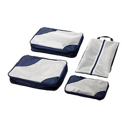 UPPTÄCKA packing bag, set of 4, dark blue