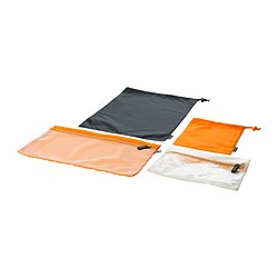 UPPTÄCKA packing bag, set of 4, orange, gray