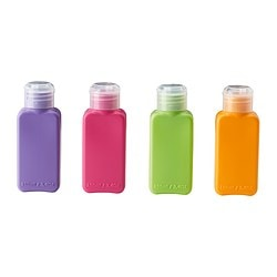 UPPTÄCKA bottle, assorted colors Volume: 3 oz Package quantity: 4 pack Volume: 100 ml Package quantity: 4 pack