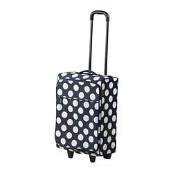 UPPTÄCKA cabin bag on wheels, collapsible, white, blue Length: 34 cm Width: 20 cm Height: 48 cm