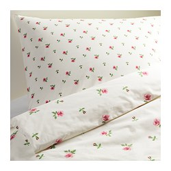 EMELINA KNOPP Quilt cover and pillowcase, white, pink