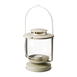MÖRKT lantern for candle in a metal cup, beige Height: 27 cm