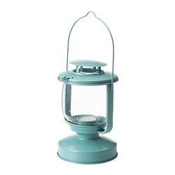 MÖRKT lantern for tealight, blue-grey Height: 17 cm