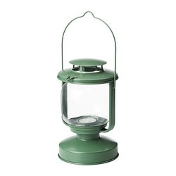 MÖRKT lantern for tealight, green Height: 17 cm