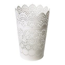 "SKURAR lantern for block candle, white Height: 9 "" Height: 22 cm"