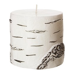 "ORIMLIG unscented block candle, white Diameter: 4 "" Height: 3 ½ "" Burning time: 30 hr Diameter: 10 cm Height: 9 cm Burning time: 30 hr"