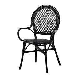 ÄLMSTA chair, rattan, black Tested for: 110 kg Width: 60 cm Depth: 60 cm