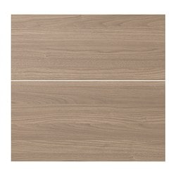 SOFIELUND deep drawer front, set of 2, walnut effect light grey Width: 39.6 cm Height: 56.6 cm Thickness: 1.9 cm