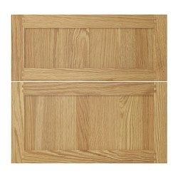 TIDAHOLM deep drawer front, set of 2, oak veneer, oak Width: 39.6 cm Height: 56.6 cm Thickness: 1.8 cm