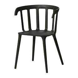 IKEA PS 2012 chair with armrests, black Width: 52 cm Depth: 46 cm Height: 76 cm