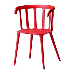 IKEA PS 2012 chair with armrests, red Width: 52 cm Depth: 46 cm Height: 76 cm