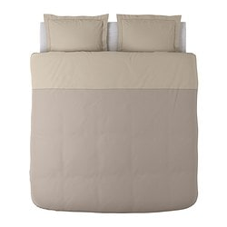 MALOU quilt cover and 2 pillowcases, light brown Quilt cover length: 220 cm Quilt cover width: 240 cm Pillowcase length: 50 cm