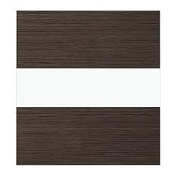 BESTÅ TOFTA glass door, high-gloss/brown, bamboo pattern Width: 60 cm Height: 64 cm