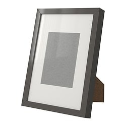 RIBBA frame, grey, high-gloss Picture without mount, width: 21 cm Picture without mount, height: 30 cm Picture with mount, width: 13 cm