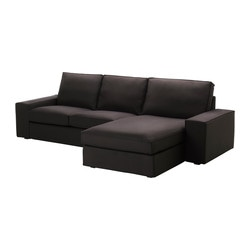 KIVIK two-seat sofa and chaise longue, Idemo black Width: 280 cm Depth: 163 cm Height: 83 cm