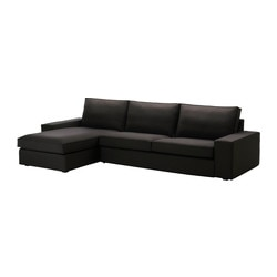 KIVIK three-seat sofa and chaise longue, Idemo black Width: 318 cm Depth: 163 cm Height: 83 cm