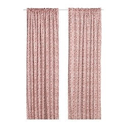 LAPPLJUNG curtains, 1 pair, red, white Length: 250 cm Width: 145 cm Weight: 1.00 kg
