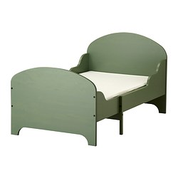 TROGEN ext bed frame with slatted bed base, green Min. length: 138 cm Max. length: 208 cm Width: 90 cm