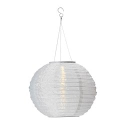 SOLVINDEN solar-powered pendant lamp, globe white Diameter: 30 cm Total height: 55 cm Shade height: 30 cm