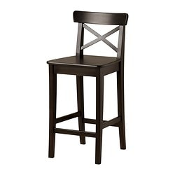 INGOLF bar stool with backrest, brown-black Width: 40 cm Depth: 45 cm Height: 91 cm