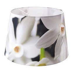 HÖRJA shade, flowers white, assorted designs Diameter: 45 cm