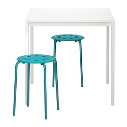 MELLTORP/ MARIUS table and 2 stools, blue, white
