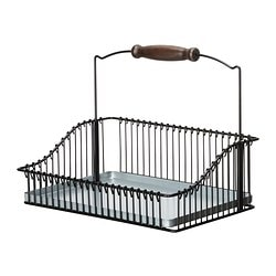 FINTORP wire basket with handle, black Length: 30 cm Width: 20 cm Height: 24 cm