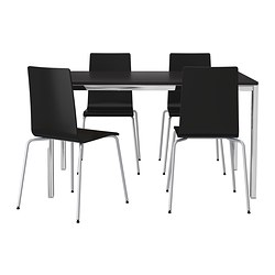 TORSBY/MARTIN table and 4 chairs, black, chrome plated brown-black
