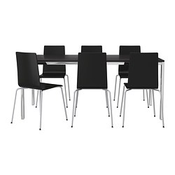 TORSBY/MARTIN table and 6 chairs, black, chrome-plated brown-black