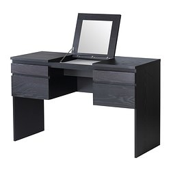 RANSBY dressing table with mirror, black-brown Width: 124.8 cm Depth: 49.5 cm Depth of drawer: 42.6 cm