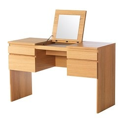 RANSBY dressing table with mirror, oak veneer Width: 125 cm Depth: 50 cm Height: 78 cm