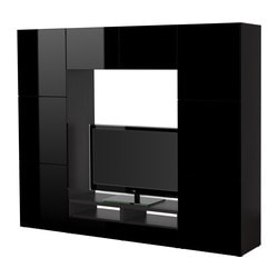 BESTÅ TV storage combination, high-gloss black, black-brown Width: 240 cm Depth: 40 cm Height: 192 cm