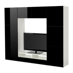 BESTÅ TV storage combination, high-gloss black, white Width: 240 cm Depth: 40 cm Height: 192 cm