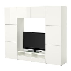 BESTÅ TV storage combination, high-gloss white, white Width: 240 cm Depth: 40 cm Height: 192 cm