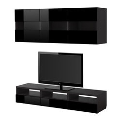 BESTÅ TV storage combination, high-gloss black black, black-brown Width: 180 cm Depth: 40 cm Height: 32 cm