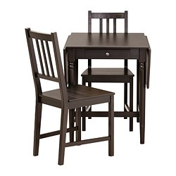 "INGATORP /  STEFAN table and 2 chairs, black-brown Length: 34 5/8 "" Min. length: 23 1/4 "" Max. length: 46 1/8 "" Length: 88 cm Min. length: 59 cm Max. length: 117 cm"