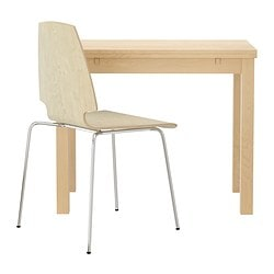 "BJURSTA/VILMAR table and 1 chair, chrome plated, birch veneer Length: 19 5/8 "" Length: 50 cm"
