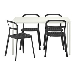 MELLTORP/ REIDAR table and 4 chairs, black, white